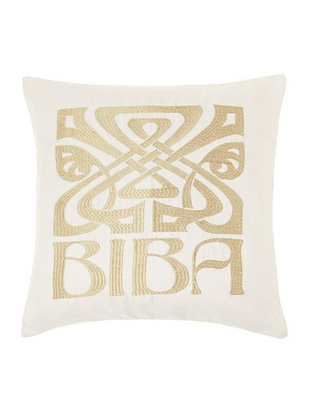 Cream velvet Biba logo cushion 50cm feather filled - 22.50