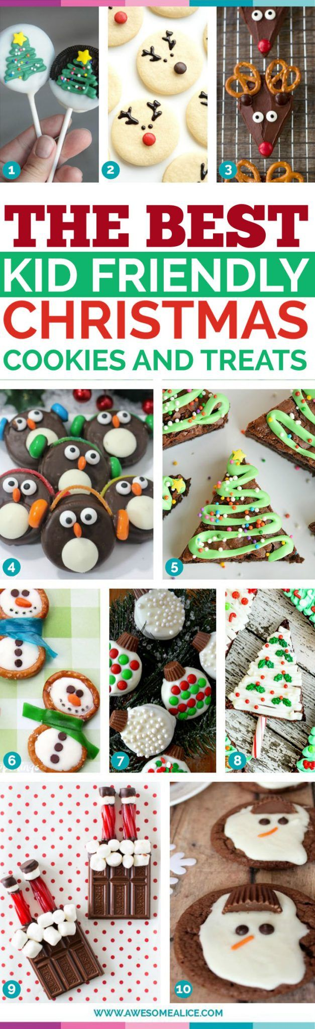 The best kid friendly christmas cookies and treats. 29 fun and easy Christmas cookie ideas for kids! These creative recipes are so simple and easy to make, but are sure to make Christmas day extra special. Everything from no-bake recipes to brownies and sugar cookies! #christmas #christmasrecipe #holidaycookies #santacookies www.AwesomeAlice