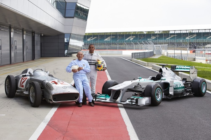 Sir Stirling Moss, Mercedes-Benz W 196, Lewis Hamilton and MERCEDES AMG PETRONAS at Silverstone, 31 May 2013 #F1