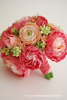 bouquet - coral pink peonies, ranunculus, hyacinth, tuberose buds and tulips