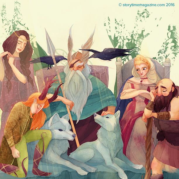 Odin summons the gods in our Storytime Issue 23 Norse myth, illustrated by Alessandra Fusi (http://www.alessandrafusi.com) ~ STORYTIMEMAGAZINE.COM
