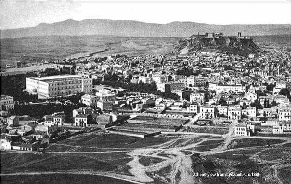 Θέα της Αθήνας από το Λυκαβηττό, 1880