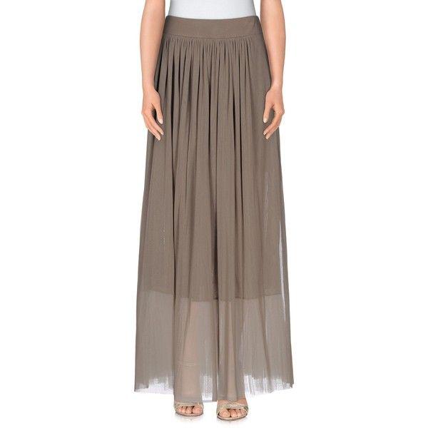 Spago Donna Long Skirt ($89) ❤ liked on Polyvore featuring skirts, khaki, khaki maxi skirt, elastic waist skirt, long brown skirt, long khaki skirt and pocket skirt