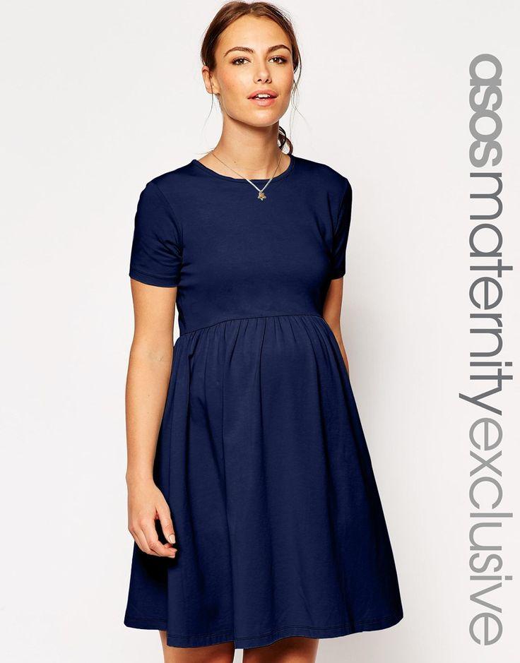 Image 1 ofASOS Maternity Slash Neck Skater Dress With Short Sleeve