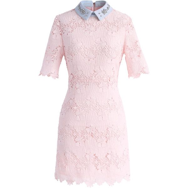 Chicwish Eternal Blessing Floral Crochet Dress with Beads Collar (£46) ❤ liked on Polyvore featuring dresses, pink, pink beaded dress, collared dresses, beading dress, pink dress and floral collar dress