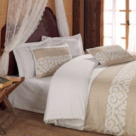 Create a romantically rustic bedroom with this stunning 100% cotton satin bedding set, featuring neutral tones and a patterned detail. Team with dark woods, silver accents and neutral tones to complete the look.  Product: 1 Double duvet cover and 2 pillowcasesConstruction Material: 100% CottonColour: Beige and whiteDimensions: Duvet Cover: 200 cm x 220 cmPillowcase: 50 cm x 70 cm Note: Pillow inserts are not includedCleaning and Care: Machine washable at 40 °C