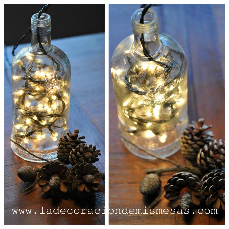la decoracin de mis mesas ideas para navidad botellas con luz
