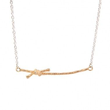 This necklace looks great worn with our Knotted Stud earrings.  KNOTTED NECKLACE -  silver & 18ct yellow gold vermeil £150.