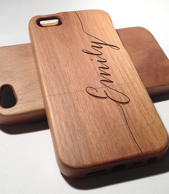 Personalized Name Laser engraved Wood case for iPhone4 4S 5 5s with matte plastic - Personalized iPhone case Cover