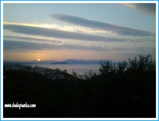 Sunset, winter in Crete, Greece