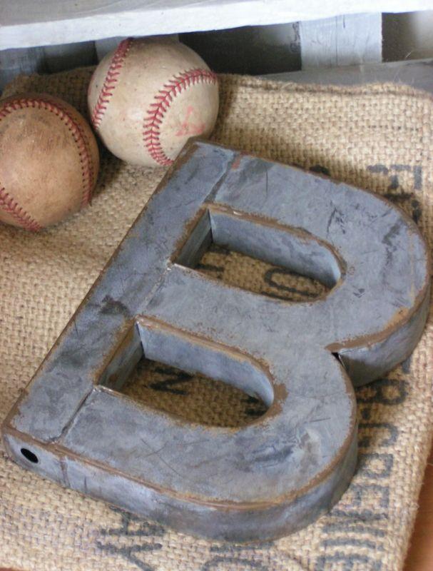 zinc letter + vintage baseballs