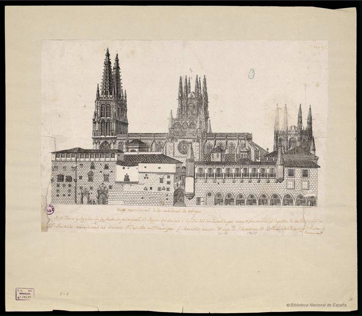 Vista meridional de la Catedral de Burgos. Gil, Jerónimo Antonio 1732-1798 — Grabado — 1771