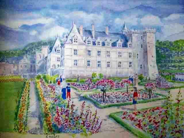 Chateau de Villandry Watercolor painting