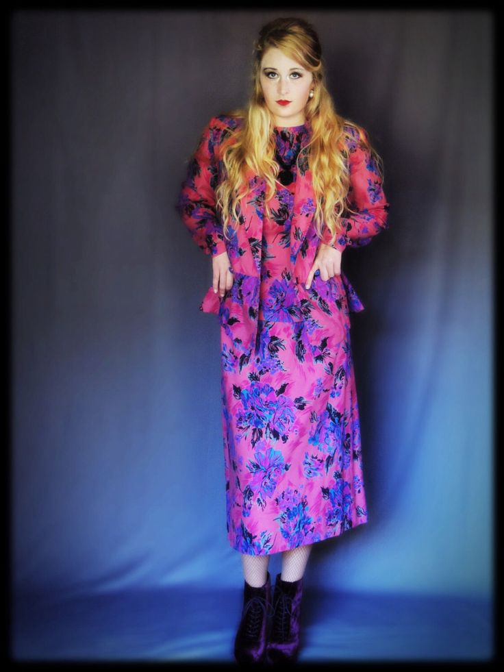 Pretty retro dress suit / vivid wool floral winter midi / vintage Laura Ashley Mary Quant inspired hand made peplum outfit by andeebird on Etsy https://www.etsy.com/listing/167738272/pretty-retro-dress-suit-vivid-wool
