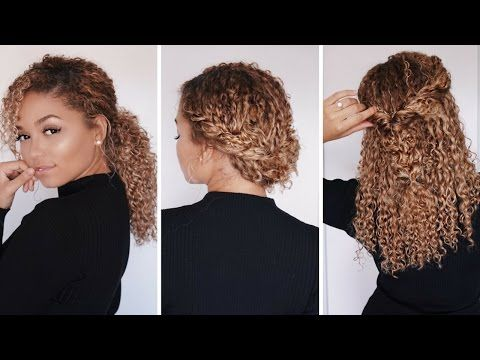 3 Super Easy Hairstyles for 3b/3c Curly Hair | Bella Kurls Extensions | Ashley Bloomfield - YouTube