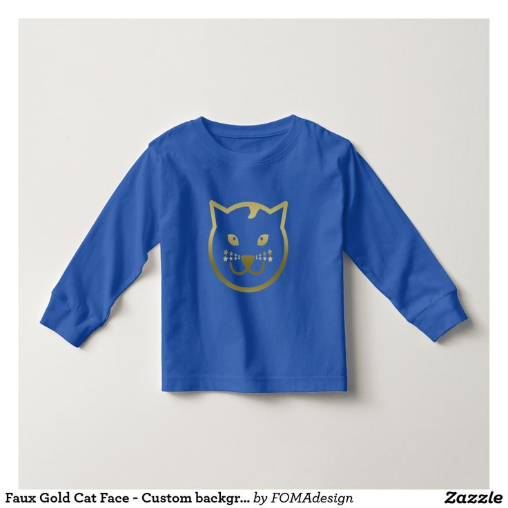 Faux Gold Cat Face - Custom background color Long Sleeve TShirt for kids, by FOMAdesign