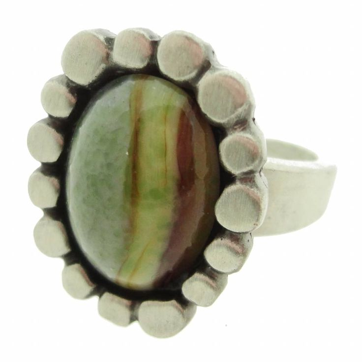 Bent Larsen pewter ring with agate #657