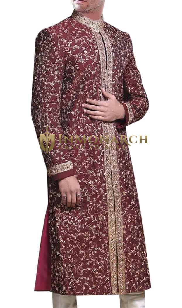 Golden Embroidered Maroon Wedding #Sherwani #Inmonarch #Wedding #Ethnic Wear #Inmonarch Wedding Wear #Indian Wedding Wear #Wedding Collection #Inmonarch Sherwani