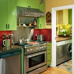 color!: Kitchens Design, Green Cabinets, Kitchens Colors, Kitchens Ideas, Green Kitchens, Laundry Rooms Design, Colors Schemes, Cabinets Design, Kitchens Cabinets