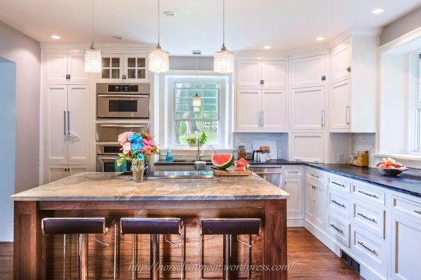 White country kitchen remodel with marble backsplash for Country kitchen designs layouts