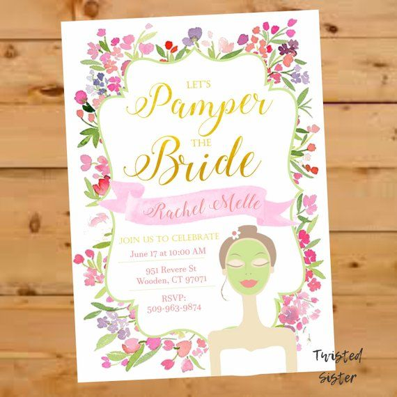 Spa Invitation Bridal Shower Invitation Bridal Shower Invite Floral Watercolor Sp Spa Bridal Shower Etsy Bridal Shower Watercolor Bridal Shower Invitations