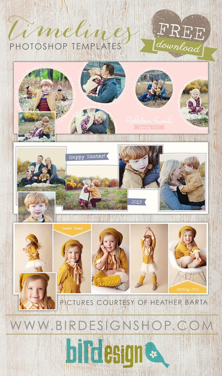 Free Facebook Templates   Photoshop templates for photographers by Birdesign