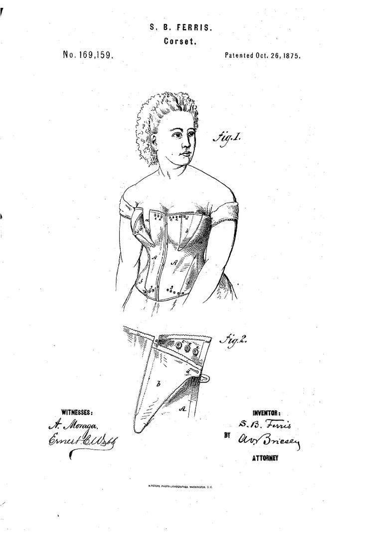 1875 Nursing corset  US patent 169,159  many button closure for a bit of adjust-ability.