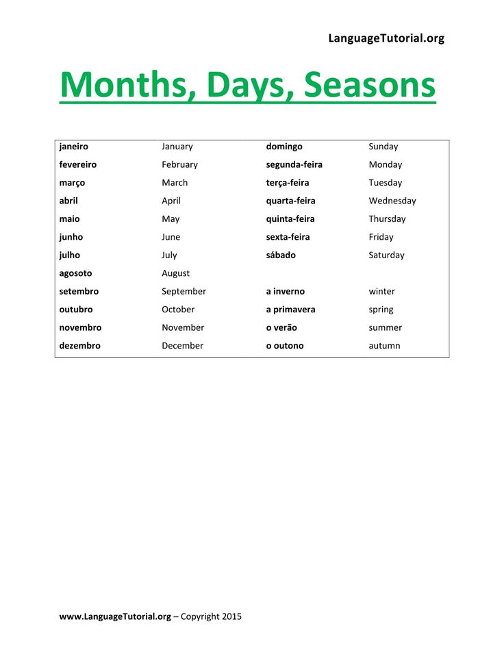 Portuguese Vocabulary Months Days Seasons