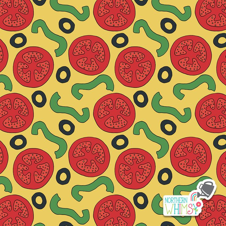 A closer look at one of the patterns from Northern Whimsy's Pizza Party collection.