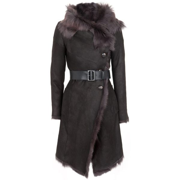 Karl Donoghue Waxed Toscana Lambskin Coat ($2,775) ❤ liked on Polyvore featuring outerwear, coats, jackets, coats & jackets, grey, asymmetrical coat, waxed coat, lambskin coat, gray coat and karl donoghue