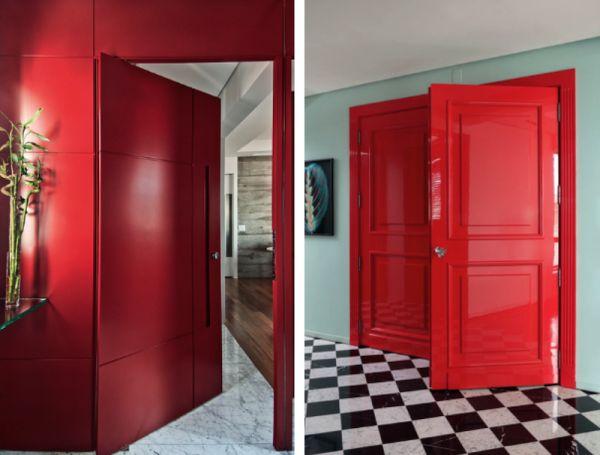 porta de entrada colorida laca vermelha pivotante arquitetura