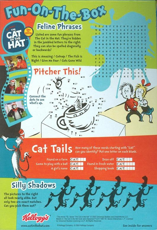 Games on cereal box Cereal box book report Math for
