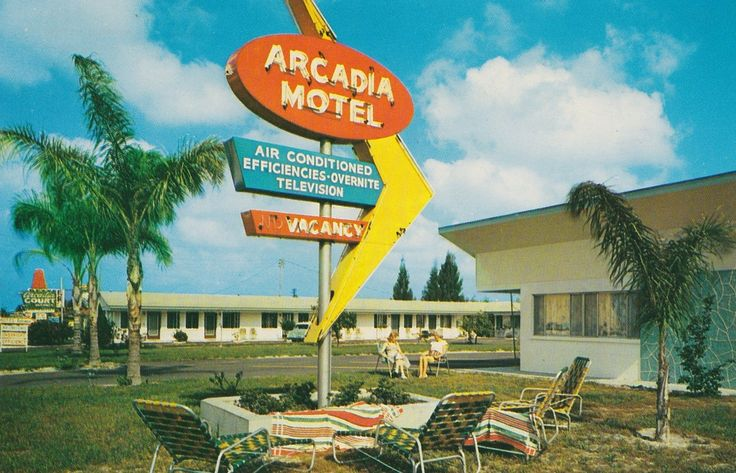 https://flic.kr/p/Xp7A5Q | Arcadia Motel - Clearwater, Florida - circa 1958 | Back of postcard reads:  ARCADIA COURT MOTEL 1972 Gulf-to-Bay Boulevard Clearwater, Florida  On Florida Route 60. Ultra modern kitchenettes, over-night rooms. Heated and air-conditioned. Television in rooms. Shuffleboard courts. Beach, stores, golf courses nearby. Restaurant next door. Mr, and Mrs. Leslie H. Cutler, owner managers.  Postcard is postmarked November 1958.  Color card by Ward Beckett - Clearwater…