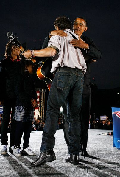 Barack Obama Bruce Springsteen Photos - Democratic presidential nominee U.S. Sen. Barack Obama (D-IL)  hugs singer Bruce Springsteen during a campaign rally at the Cleveland Mall November 2, 2008 in Cleveland, Ohio. Obama continues to campaign as Election Day begins to draw near as he runs against his Republican challenger, Sen. John McCain. . - Obama Campaigns Across The U.S. In Final Week Before Election