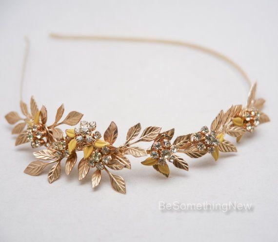 Oro Metal venda de cobre amarillo hojas y Strass por BeSomethingNew
