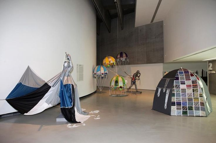 LUCY+JORGE ORTA, from left Flying Man, Reconnaissance Man, Dome Dwellin Celio, 2012. Courtesy ZegnArt and the Artists