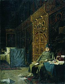 """Bad News from France, painting depicting Napoleon encamped in a Russian Orthodox church (Vasily Vereshchagin, part of his series, """"Napoleon, 1812"""", 1887–95)."""