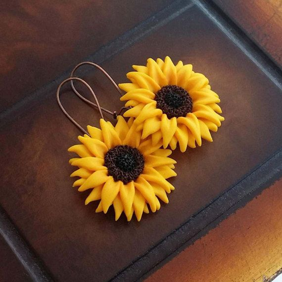 Sunflower Earrings Handmade From Polymer Clay by EvasCreationsShop