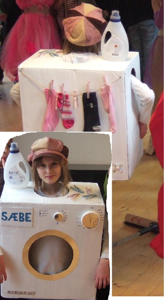 Costume: Washing maschine out of a card-box added details like detergent, socks on a string etc. Cool and easy!