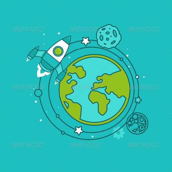Start up concept in flat style ...  abstract, blue, business, concept, design, earth, element, flat, flight, global, green, icon, illustration, launch, outline, planet, rocket, ship, sign, sky, space, star, start, symbol, trendy, up
