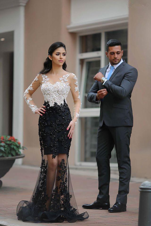 Prom Dress, Long Sleeve Black White Prom Dress,Lace