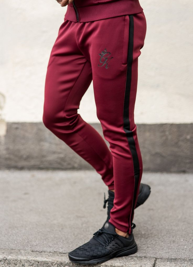 GK Tapered Poly Tracksuit Bottoms - Burgundy