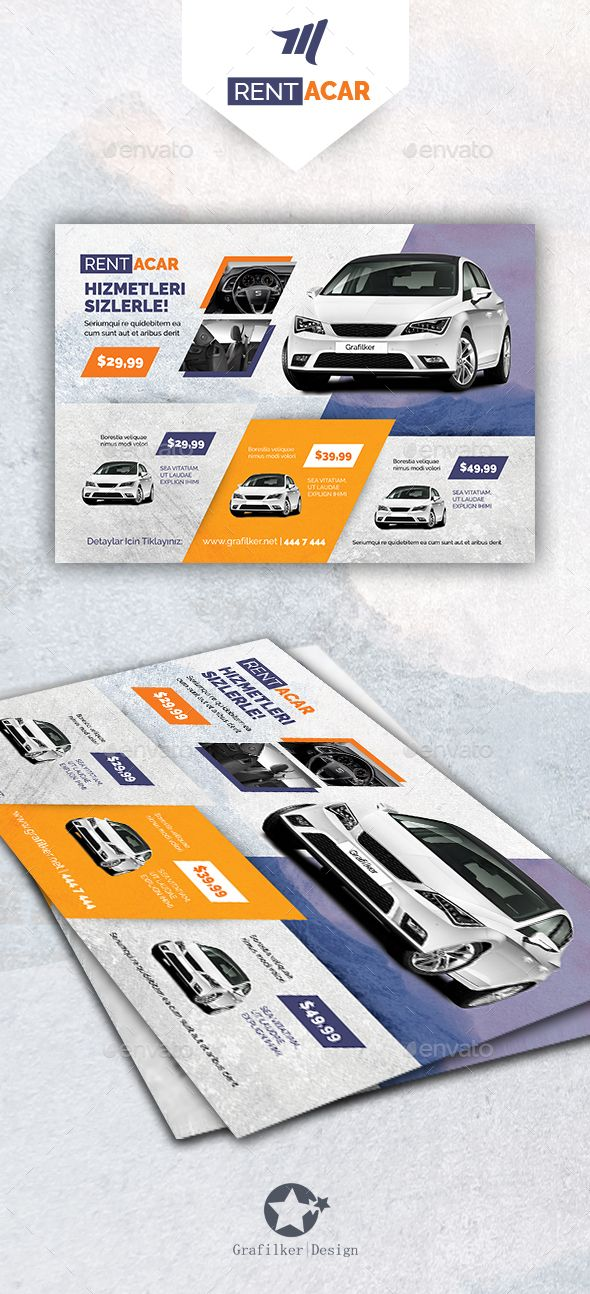 Rent A Car Flyer Template PSD, INDD #design Download: http://graphicriver.net/item/rent-a-car-flyer-templates/14121476?ref=ksioks