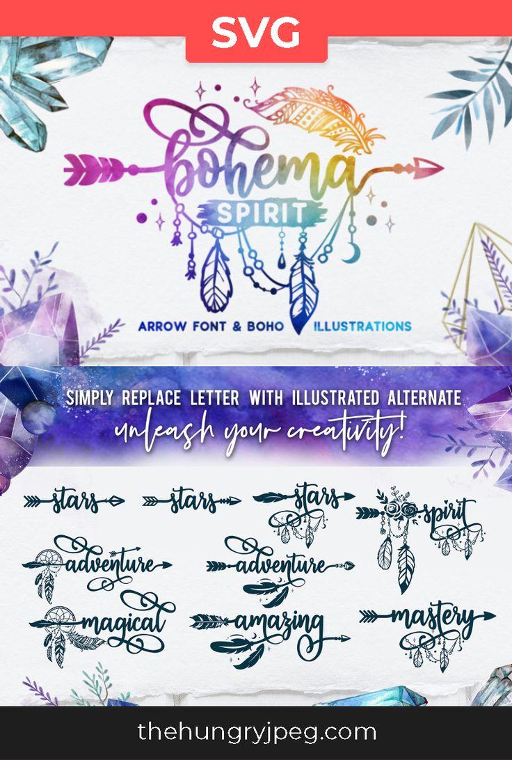 Bohema Spirit is a script arrow font containing more than