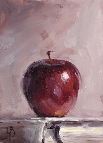 "Daily Paintworks - ""Red Apple"" by Ollie Le Brocq I like the concept of the book underneath"