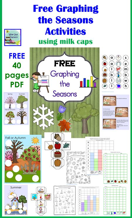 Free Changing Seasons Graphing Activities with Milk Caps