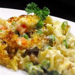 Tuna Noodle Casserole from Scratch- read reviews and make some adjustments.  Top with crushed potato chips