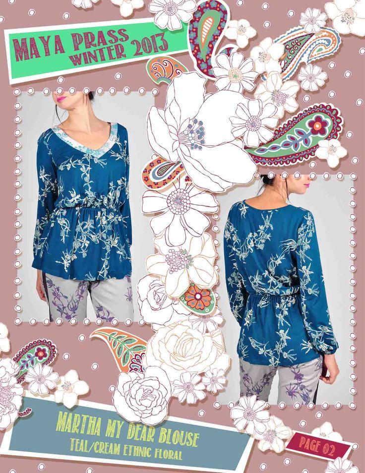 Martha-my-Dear blouse teal Ethnic Floral