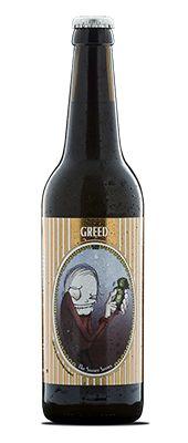 """Greed / Vi spurgte vores strømlinede marketingsdirektør om, hvilken øl der kunne illustrere dødssynden Grådighed. Efter blot et enkelt sekunds betænkningstid svarede han: """"Hvorfor gør vi ikke bare det samme som alle de store aktører i branchen: vi brygger en røvbillig øl og sælger den til en premium pris. Det er sgu' da grådighed. """" Vores marketingsdirektør er en klog mand, så naturligvis gjorde vi, som han sagde. Og vi satte endda et billede af ham på etiketten. Øllen endte så faktisk ret…"""