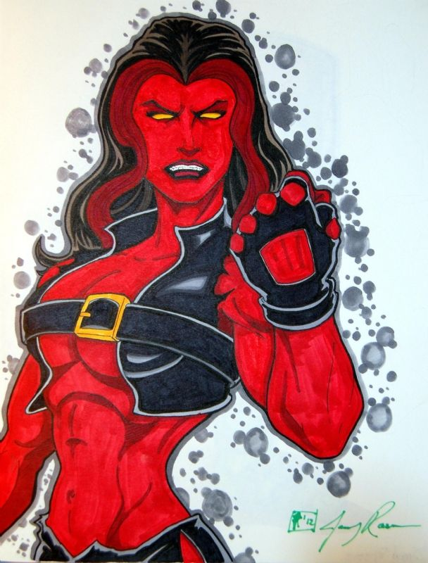 #Red #She #Hulk #Fan #Art. (Red She-Hulk) By: Jerry Rascoe. ÅWESOMENESS!!!™ ÅÅÅ+